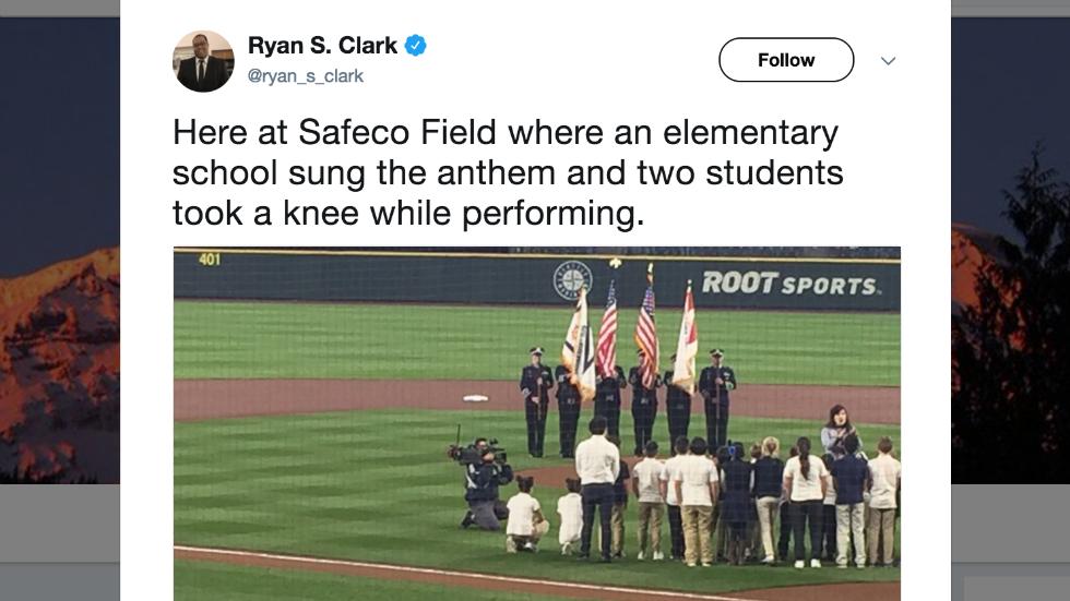 Elementary School Kids Take Knee During Anthem At Mariners